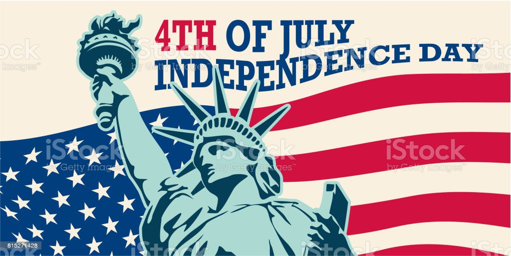 USA. Statue of Liberty. 4th of July vector art illustration