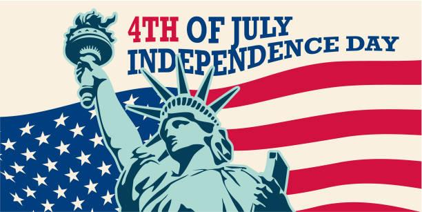 미국입니다. 자유의 동상입니다. 7 월 4 일 - independence day stock illustrations