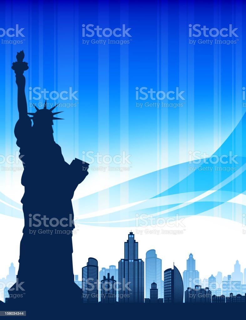 Statue of Liberty and modern city skyline panoramic royalty-free stock vector art