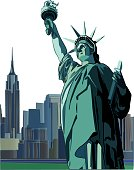 Statue of Liberty vector illustration. With New York City skyline on the background.