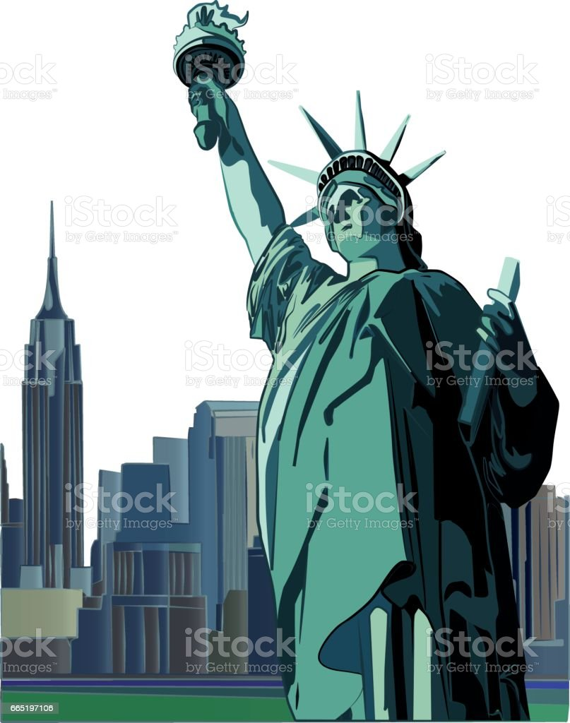 Statue of Liberty and skyline, vector vector art illustration