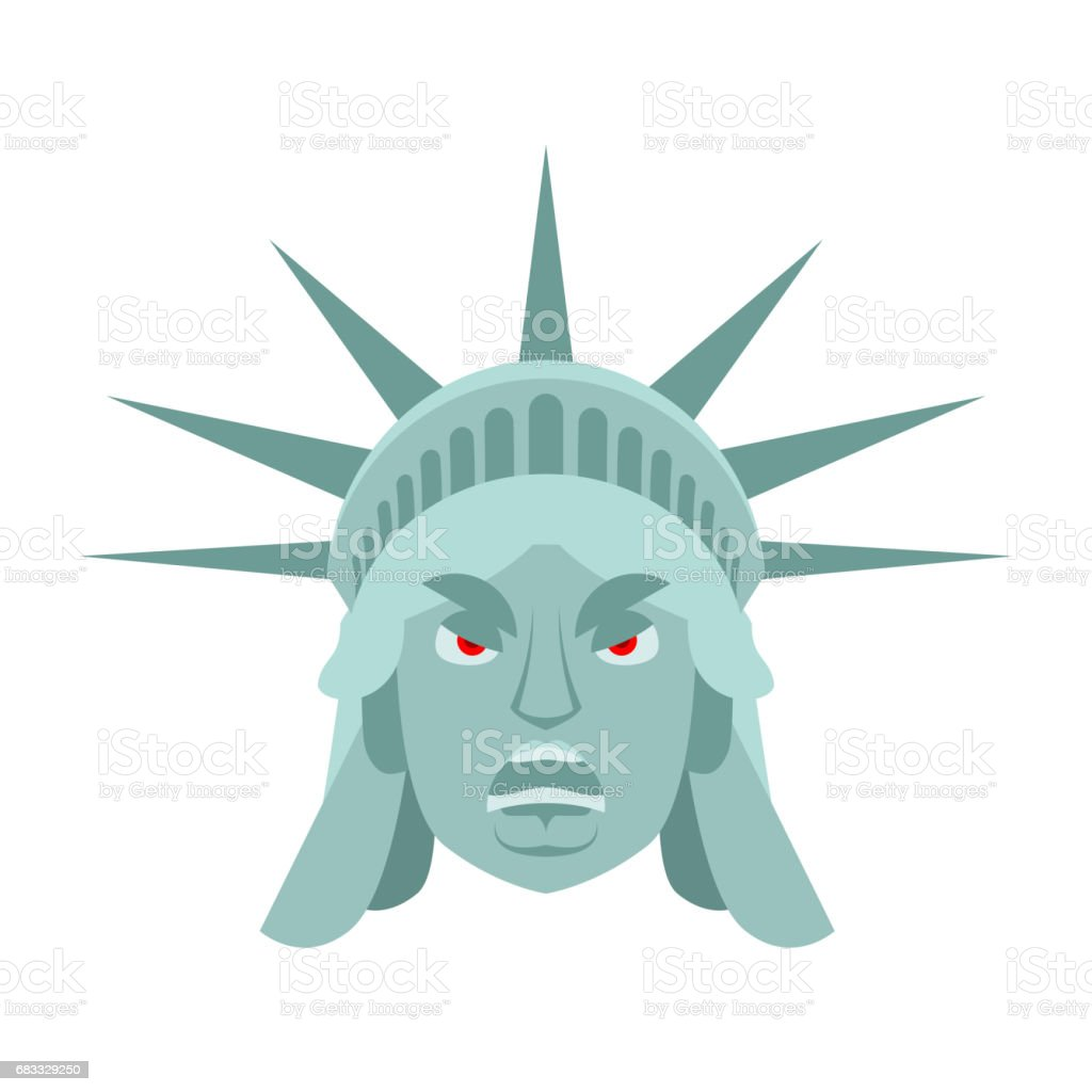 Statue of Liberty angry Emoji. US landmark statue face Aggressive emotion isolated statue of liberty angry emoji us landmark statue face aggressive emotion isolated - immagini vettoriali stock e altre immagini di città royalty-free