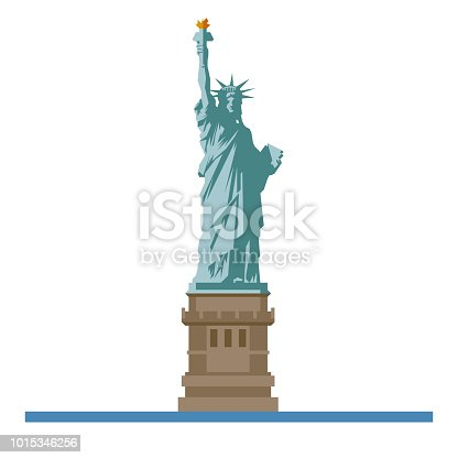 Flat design isolated vector icon of the Statue of Liberty on Ellis Island, New York, United States of America