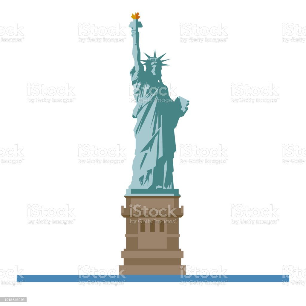 Statue of Liberty at New York flat design isolated vector icon vector art illustration