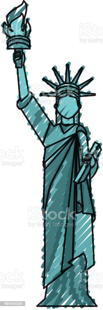 Ilustración de Estatua De Dibujos Animados De La Libertad y más ...