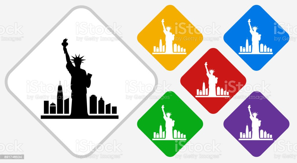 Statue of Liberty Color Diamond Vector Icon vector art illustration