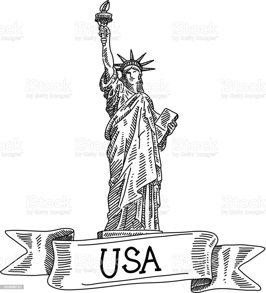 statue of liberty, Drawing vector art illustration