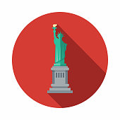 A pastel colored flat design United States of America icon with a long side shadow. Color swatches are global so it's easy to edit and change the colors.
