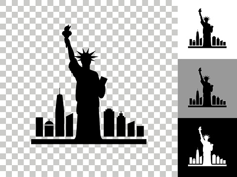 Statue of Liberty Icon on Checkerboard Transparent Background