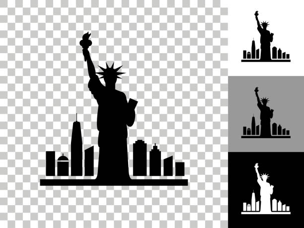 Statue of Liberty Icon on Checkerboard Transparent Background vector art illustration