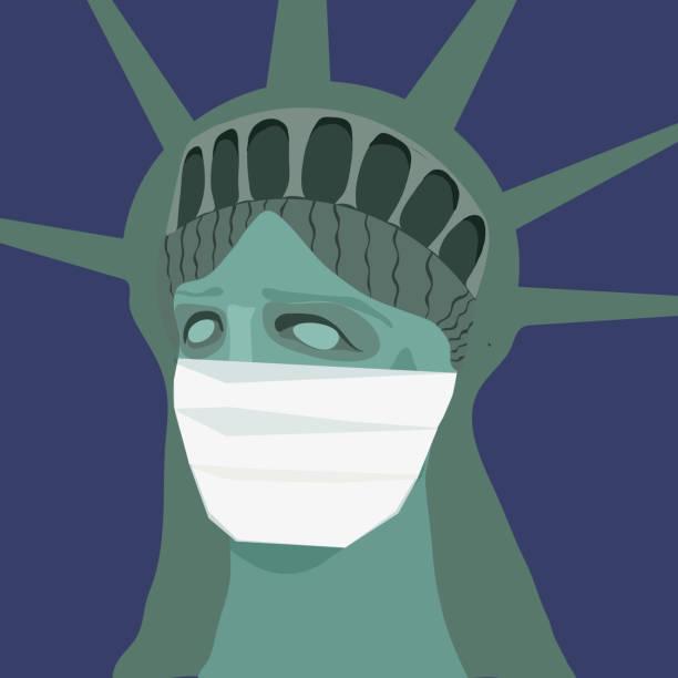 医療マスクに入った自由の女神。コロナウイルスのコビッド19流行概念。ニューヨークの検疫。ベクターの図。 - corona newyork点のイラスト素材/クリップアート素材/マンガ素材/アイコン素材