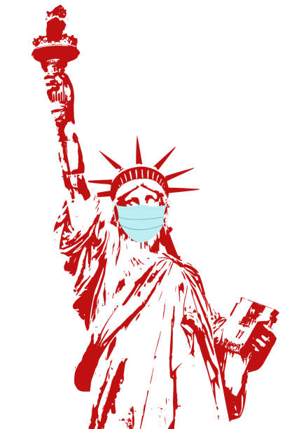 使い捨て医療マスクの自由の女神 - corona newyork点のイラスト素材/クリップアート素材/マンガ素材/アイコン素材