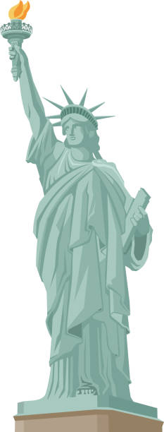 Statue of Liberty in New York vector art illustration