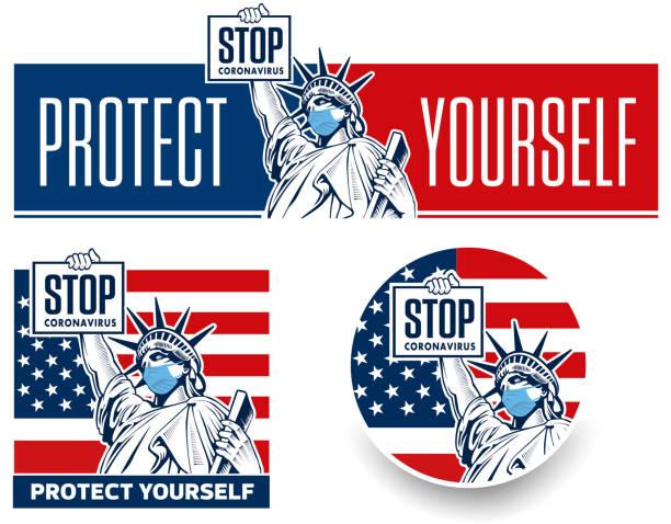 保護医療マスクコロナウイルスコンセプトの自由の女神像 - corona newyork点のイラスト素材/クリップアート素材/マンガ素材/アイコン素材