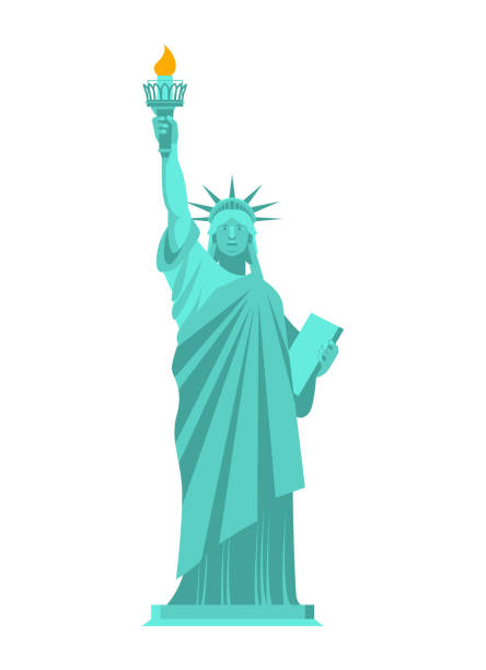 Statue of Liberty isolated. National symbol of America. US Landmark vector art illustration