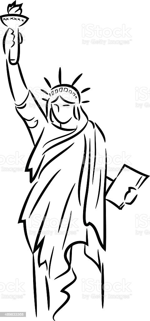 Line Art Photo : Statue of liberty line art stock vector more images