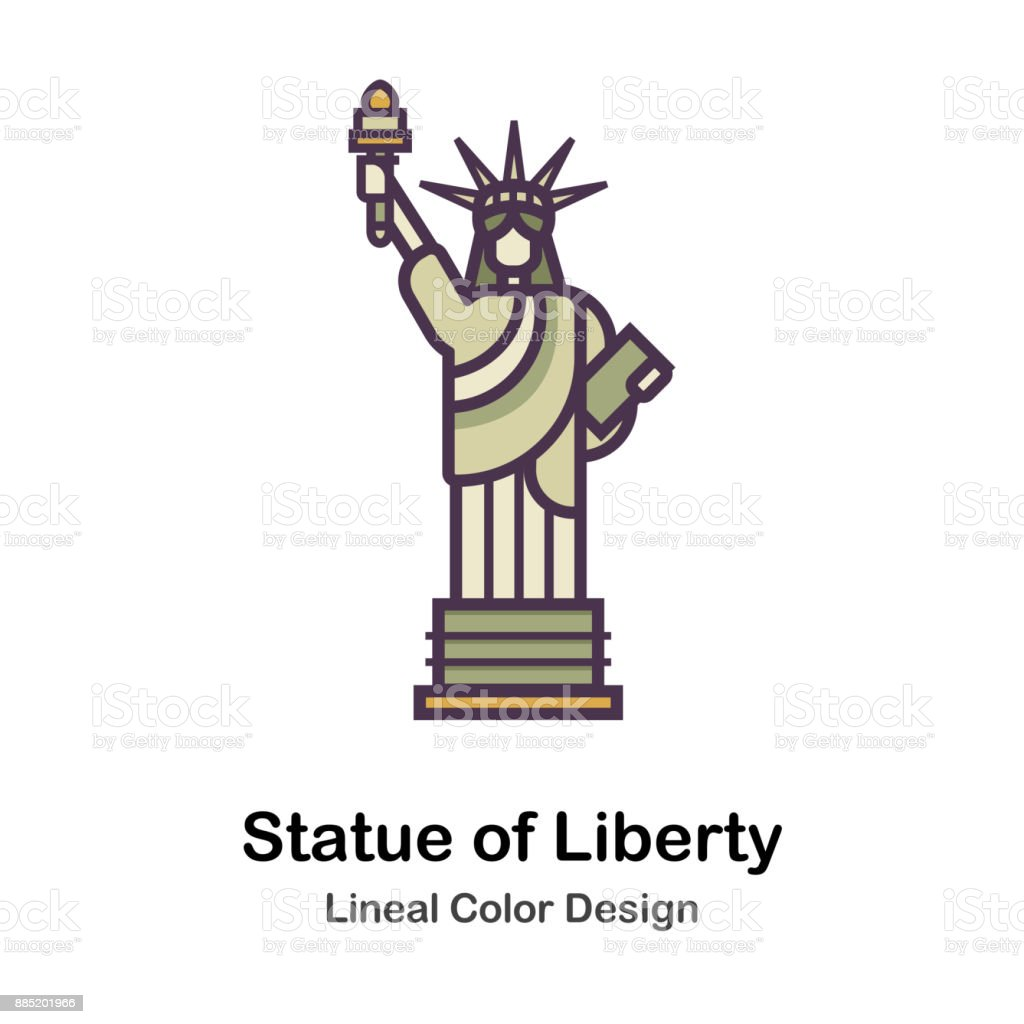 Statue of Liberty Lineal Color Illustration vector art illustration