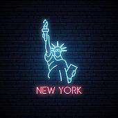 Statue of liberty neon icon. Neon emblem of New York, bright banner. US Landmark. Night light signboard. Vector illustration.