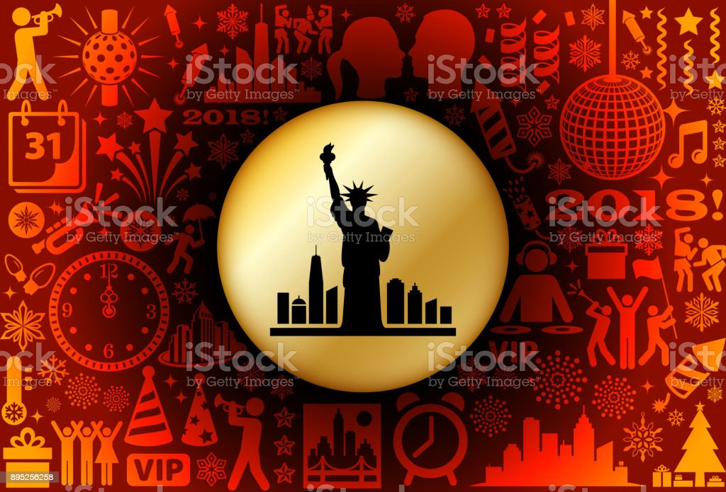 Statue of Liberty  New Year Holiday Background Pattern vector art illustration