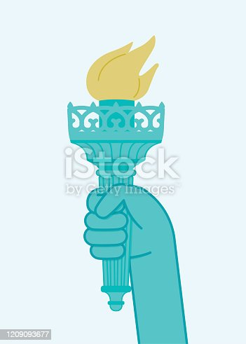 Statue of Liberty New York City USA. Hand holding a torch. Travel and freedom copy space vector illustration.