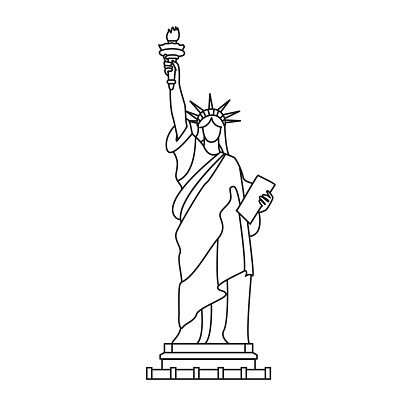 Statue of Liberty, New York. Outline illustration, isolated on white.