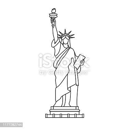 Statue of Liberty, New York. Symbol of America. Outline illustration, isolated on white. Stylised icon. Vector