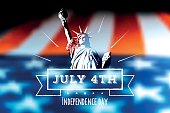 white independence day line label with statue of liberty on blurred us flag