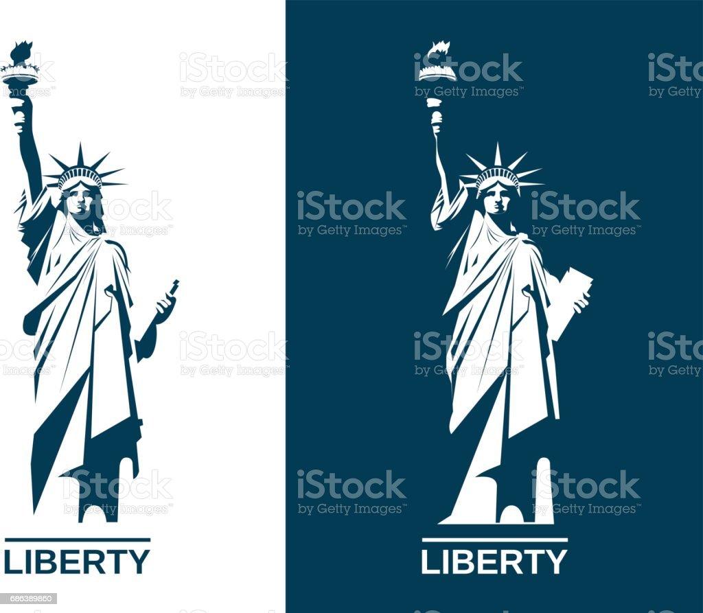 Freiheitsstatue USA. Satz. Vektor-Illustration. – Vektorgrafik