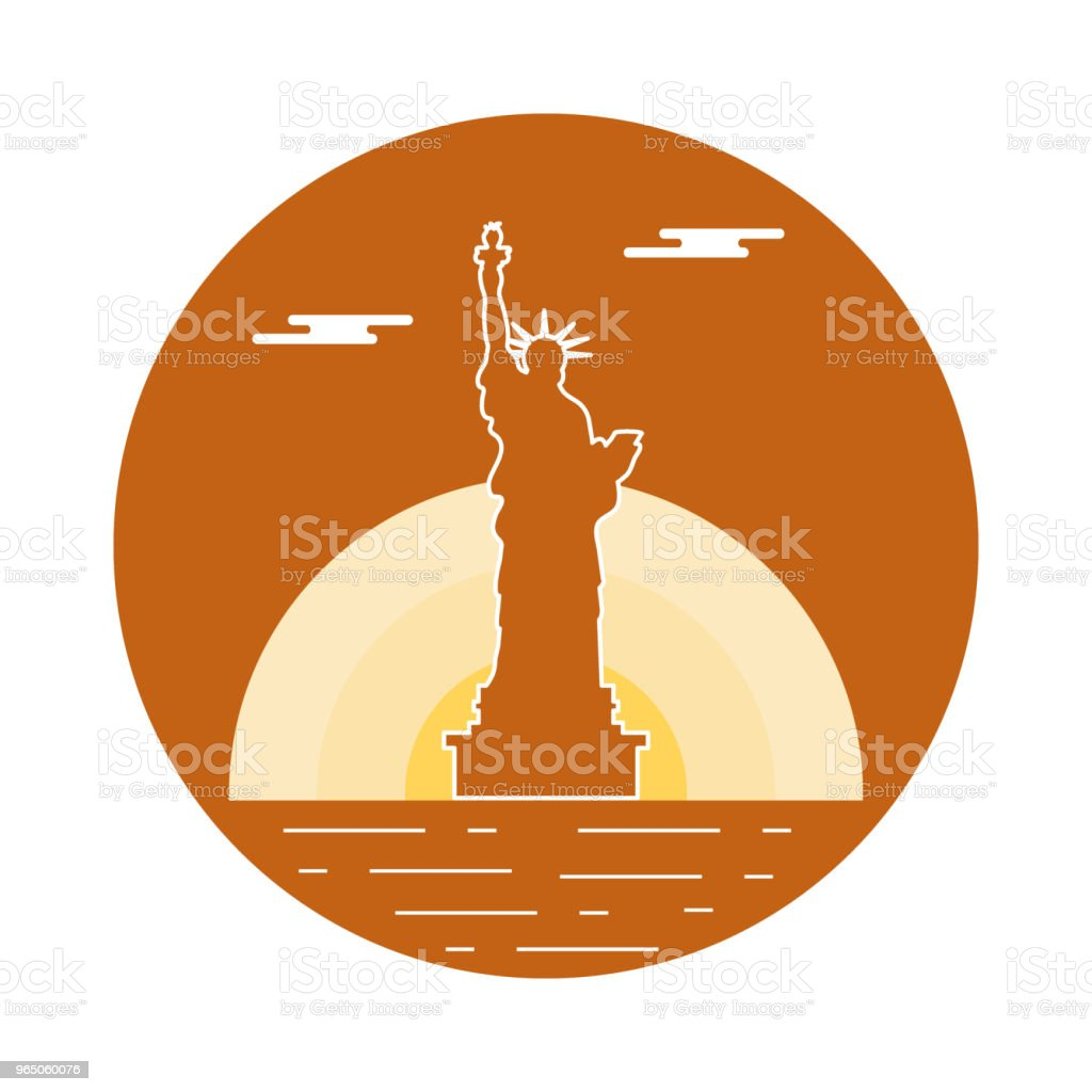 Statue of Liberty, sun and clouds. American symbols. statue of liberty sun and clouds american symbols - stockowe grafiki wektorowe i więcej obrazów architektura royalty-free