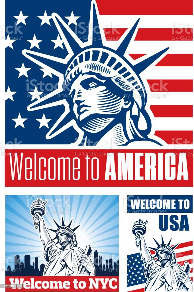 Statue Of Liberty Usa Flag Nyc Symbol Stock Vector Art More Images
