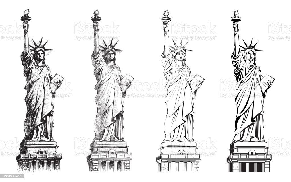 Statue Of Liberty Vector Collection Of Illustrations Stock