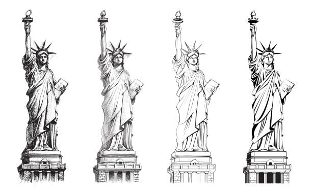Statue of liberty, vector collection of illustrations. vector art illustration