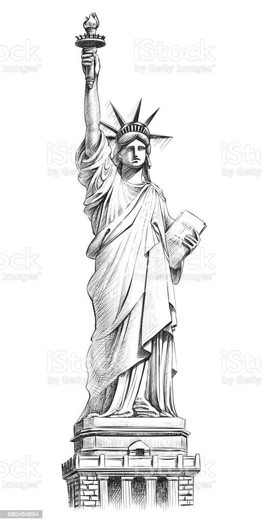 Statue of liberty, vector hand drawn illustration. vector art illustration