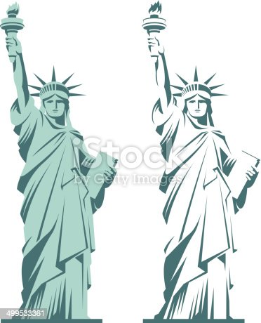 Statue of Liberty graphic illustration in two variations isolated on white