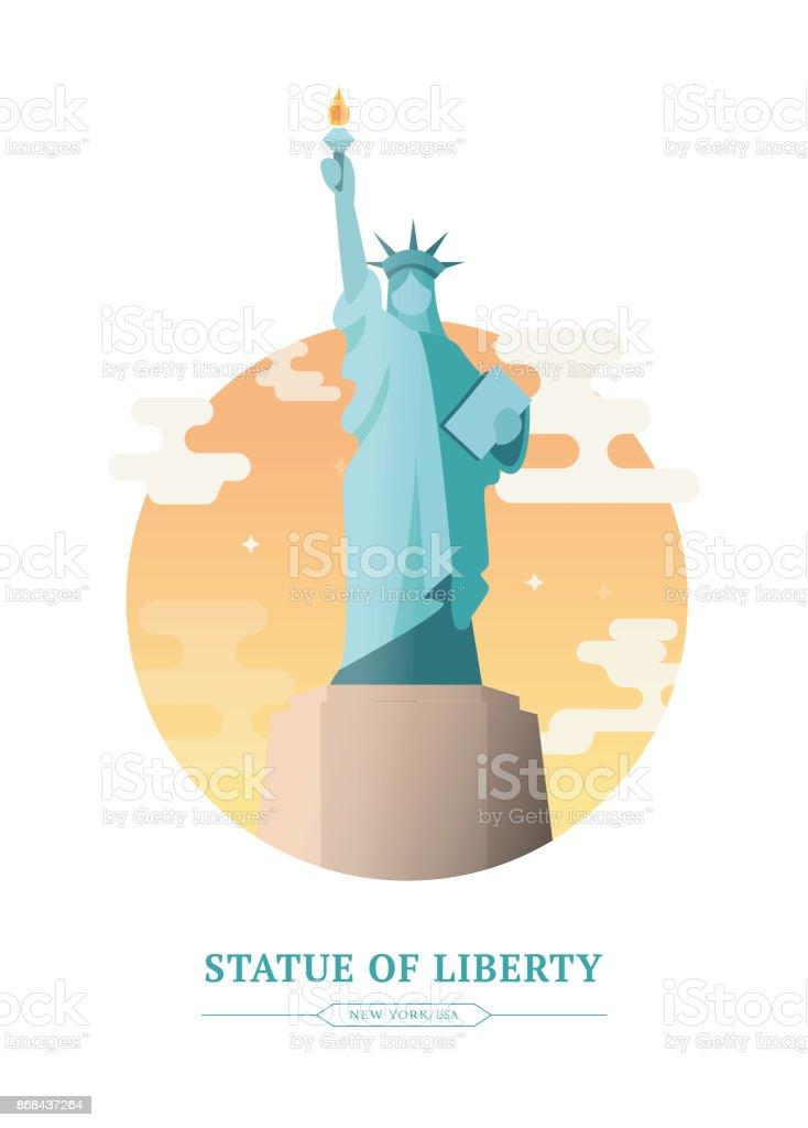 Statue of Liberty vector art illustration