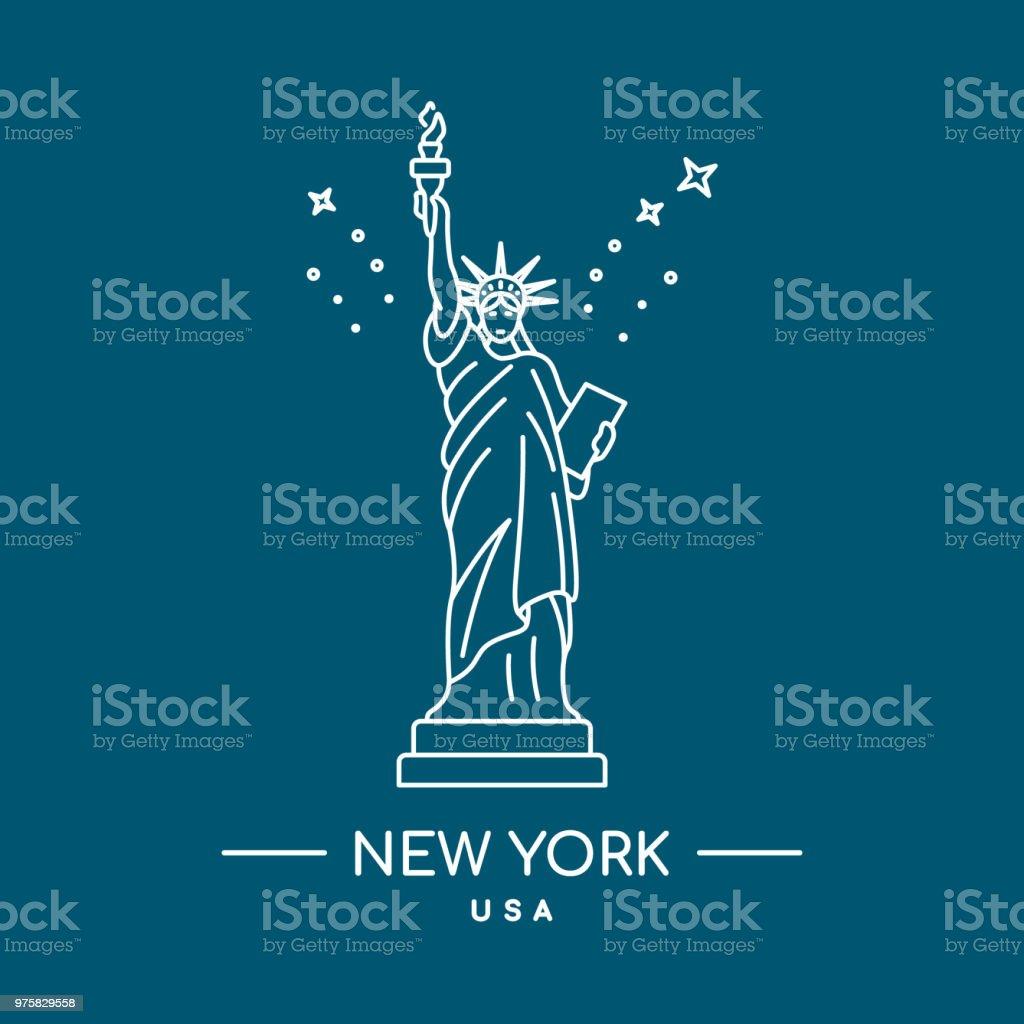 Statue of Liberty-Vektor-Illustration. Strichzeichnungen. Wahrzeichen von New York, USA. - Lizenzfrei Architektur Vektorgrafik