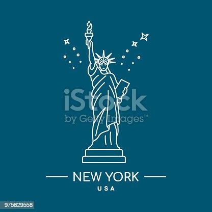 Statue of Liberty vector illustration. Line art. New York, USA landmark.