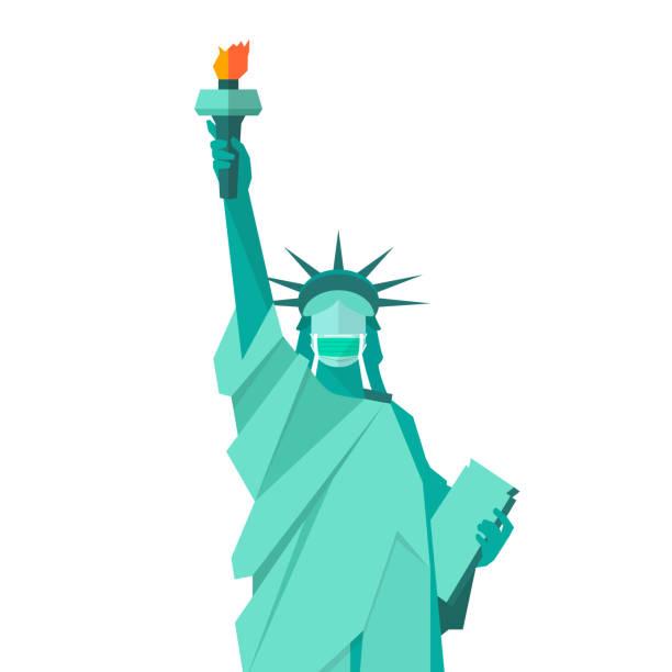 保護医療マスクを着用した自由の女神像 - corona newyork点のイラスト素材/クリップアート素材/マンガ素材/アイコン素材