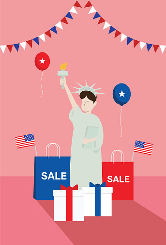 Statue of liberty with a gift and a shopping bag