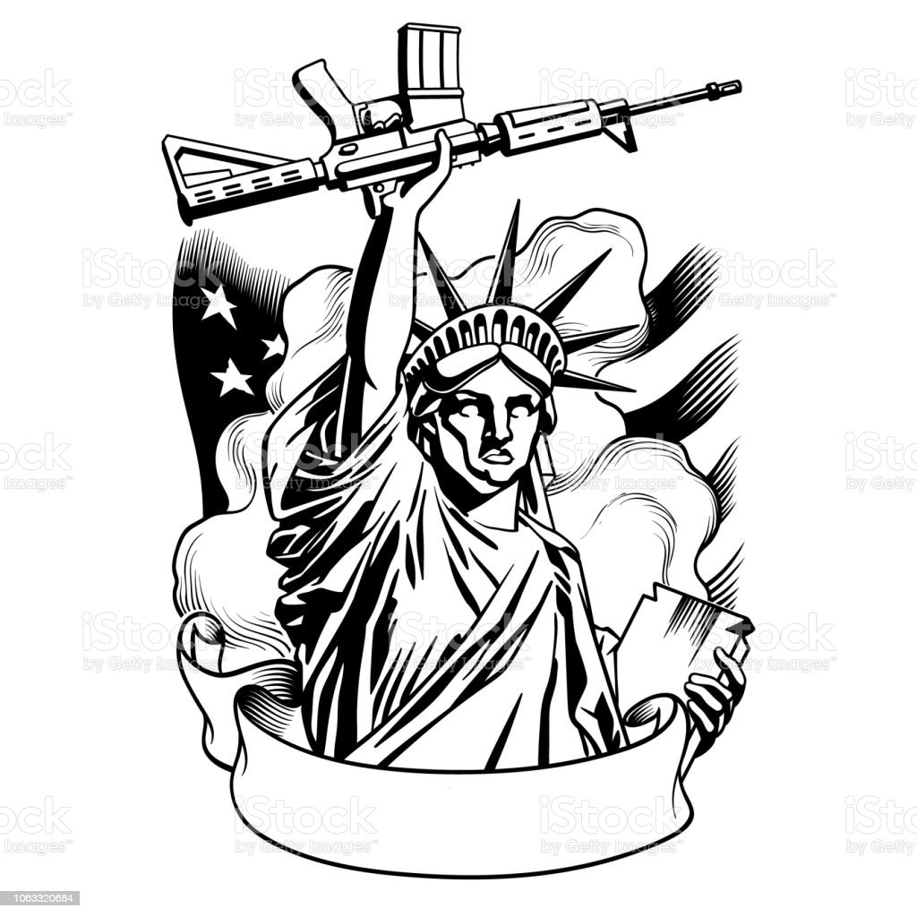 Statue of liberty with gun