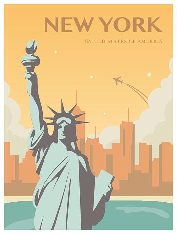 Statue of Liberty. World landmark. American symbol. New York city. Vector