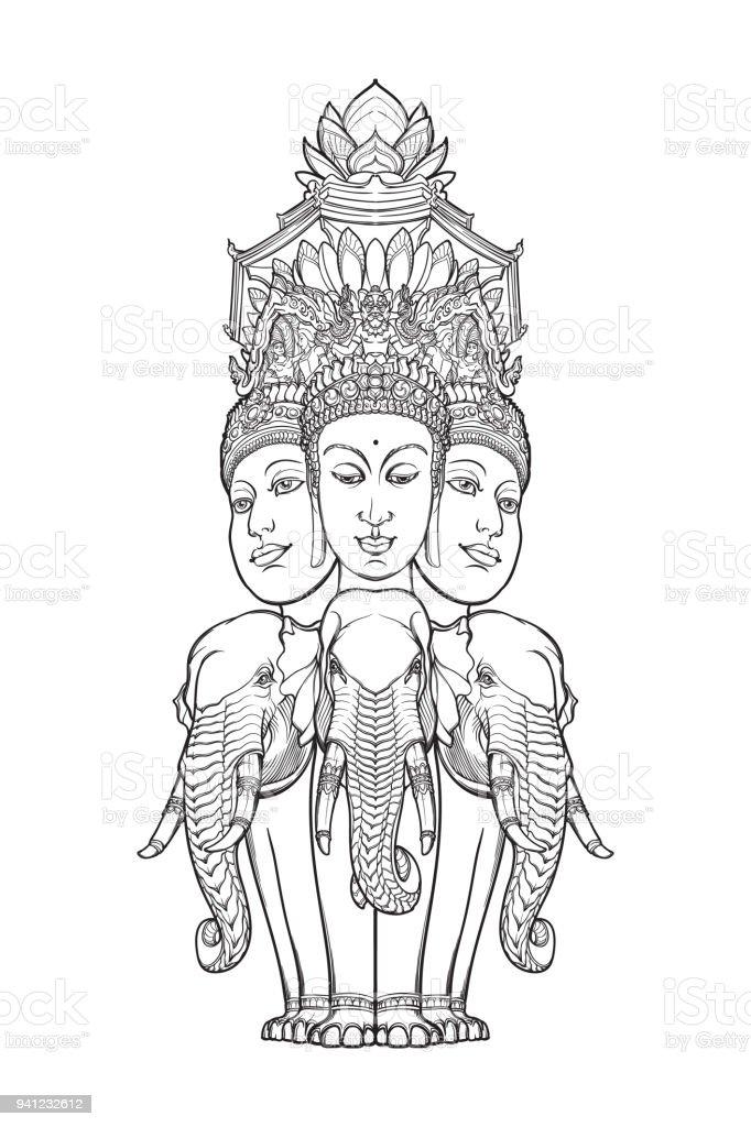 c2ec3267a4126 Statue representing Trimurti - trinity of Hindu gods Brahma, Vishnu and  Shiva, sitting on three elephants. Intricate hand drawing isolated on white  ...