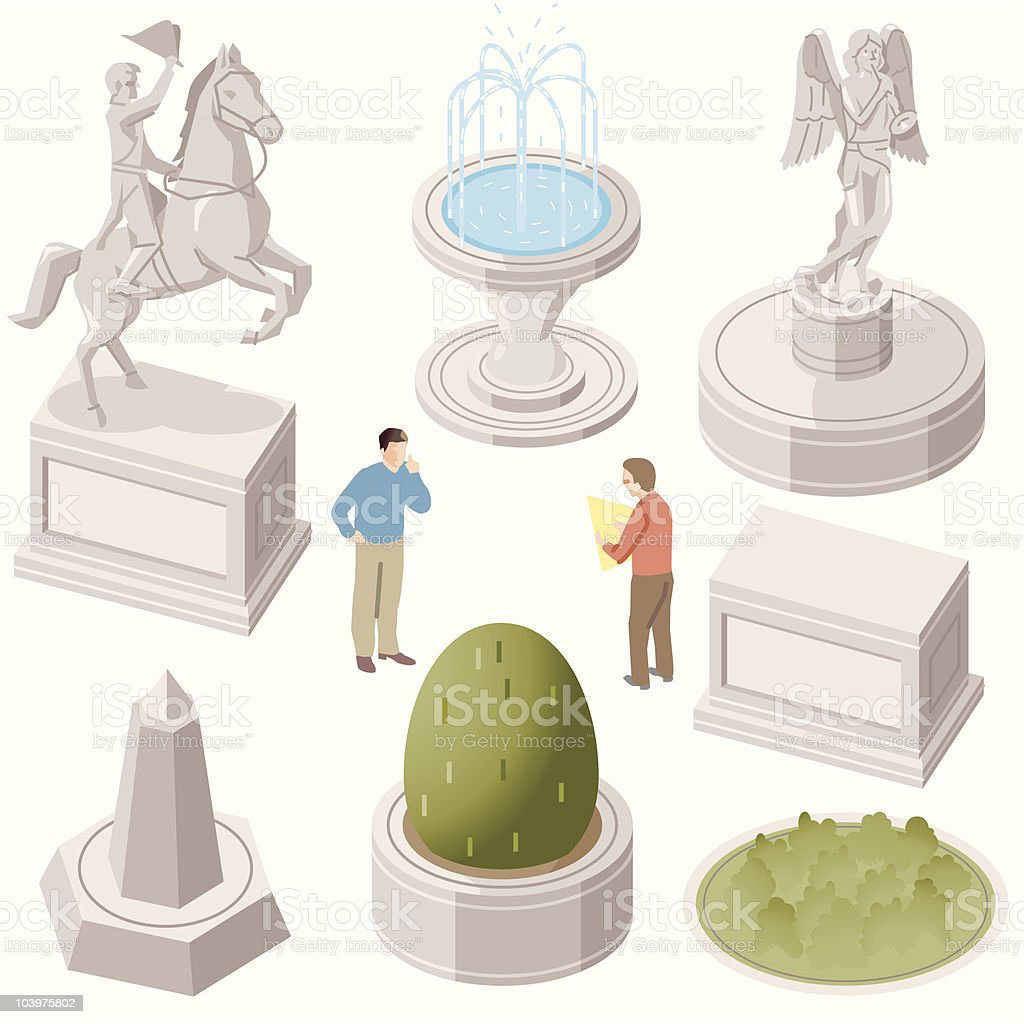 Statues vector art illustration