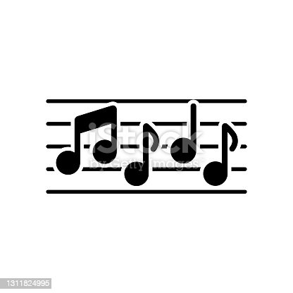 istock Stave and music notes vector glyph icon 1311824995
