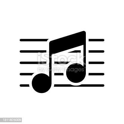 istock Stave and music notes vector glyph icon 1311825009