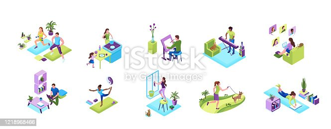istock Stay and work from home concept set, quarantine isolation activities, sports training people, man playing music, girl baking with family, doing yoga poses, clean up window, video chat with friends 1218968466