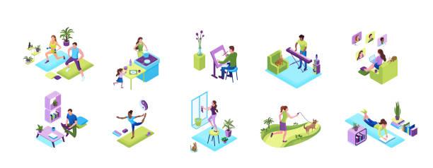 Aufenthalt und Arbeit von zu Hause aus Konzept-Set, Quarantäne-Isolationsaktivitäten, Sporttraining Menschen, Mann spielen Musik, Mädchen Backen mit der Familie, Yoga-Posen tun, Fenster aufräumen, Video-Chat mit Freunden – Vektorgrafik