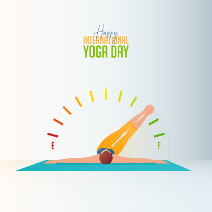 Stay at home and do yoga at home concept banner for International Yoga Day. Woman exercising at home or living room and practicing yoga. Boost your energy banner. Flat Character Vector