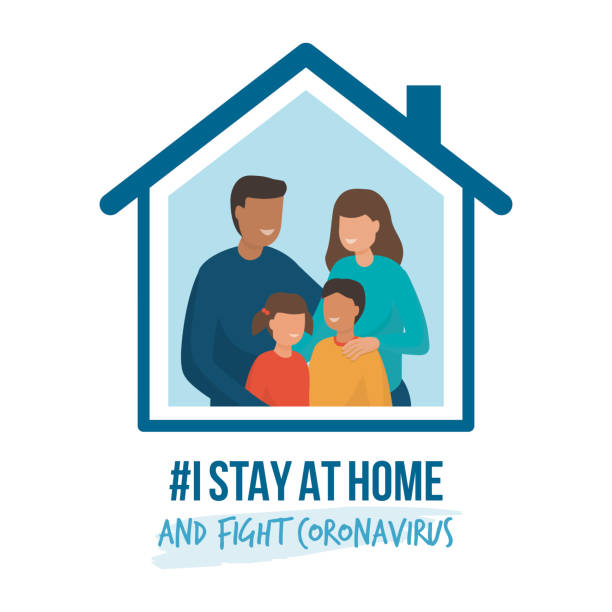 I stay at home awareness campaign and coronavirus prevention I stay at home awareness social media campaign and coronavirus prevention: family smiling and staying together happy family stock illustrations