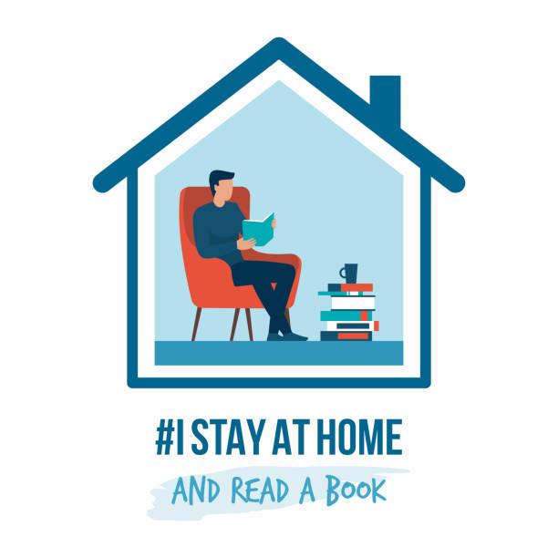 Ich bleibe zu Hause Sensibilisierungskampagne und Coronavirus Prävention – Vektorgrafik